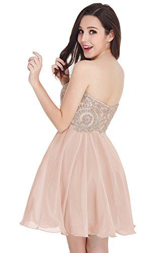 Babyonlinedress Sexy apliques con cuentas vestido de gasa cóctel Homecoming corta para Junior Rosa