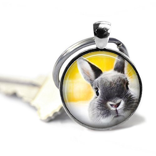 Rabbit Key Chain - Peeking Bunny - Rabbit Keychain - Animal Lover Gift - Key Chain - Yellow Key Chain - Bunny Rabbit (Peeking Bunny)