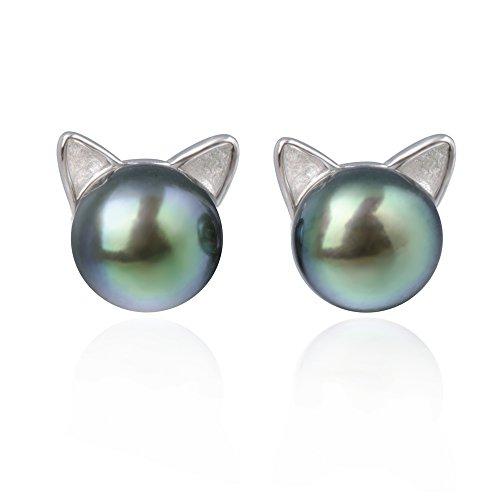 S.Leaf Cat Ear Stud Earrings Freshwater Cultured Pearl Stud Earrings Sterling Silver Black Pearl Ear Studs (earrings) by S.Leaf