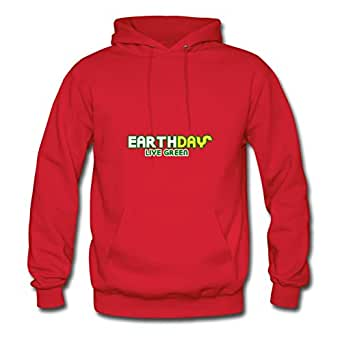 Women Sweatshirts Casual Earth Day Live Green Print X-large With Cotton Red