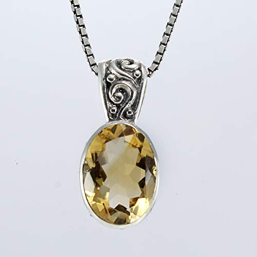 925 Sterling silver Bali design pendant with genuine citrine stone, pendant citrine, genuine gems stone, 25 mm length pendant, pendant citrine, yellow stone pendant