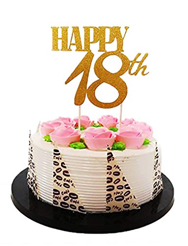 E&L Gold Glitter Happy 18th Birthday Cake topper - Forever 18 Party Favors - 18th Birthday Party Decoration -