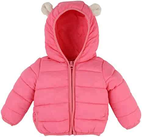 b01085881 WARMSHOP Baby Kids Light Weight Down Jacket Cute Bunny Rars Hooded Cardigan Jackets  Coat