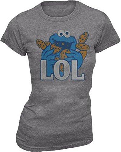 Sesame Street Cookie Monster LOL Heather Gray Juniors T-shirt Tee (Juniors - Online Stores Juniors