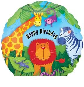 "ZOO Jungle Lion Giraffe Zebra Monkey Birthday Party Animal 18"" Mylar Balloon"