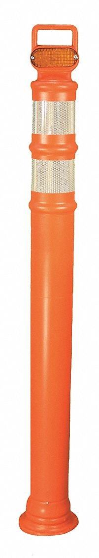 Strobing Delineator, 42'' Delineator Height, Orange, Polyethylene, 1 EA
