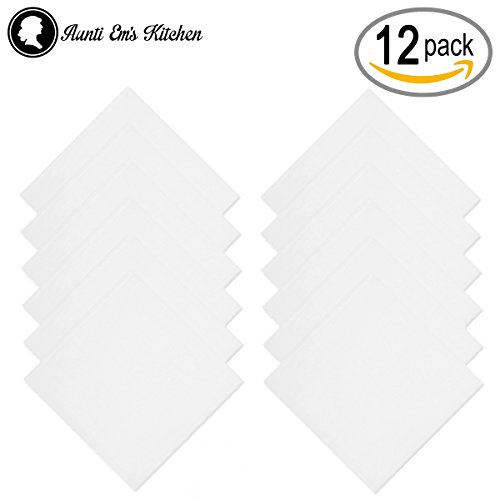 Aunti Em's Kitchen White Cotton Napkins Cloth 20 x 20 Oversized 100% Natural Bulk Linens for Dinner, Events, Weddings, Set of 12 by Aunti Em's Kitchen (Image #5)