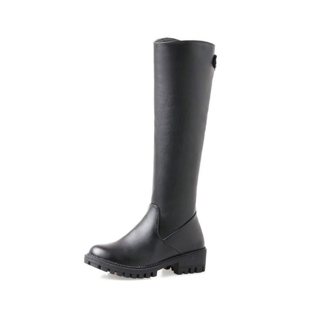 Ai Ya-xuezi Frauen Stiefel Zip Mode Tür Aus Warmen Pelz Nähen Round Toe Kniehohe Stiefel Square Med Heels Damen Stiefel Größe 34-43