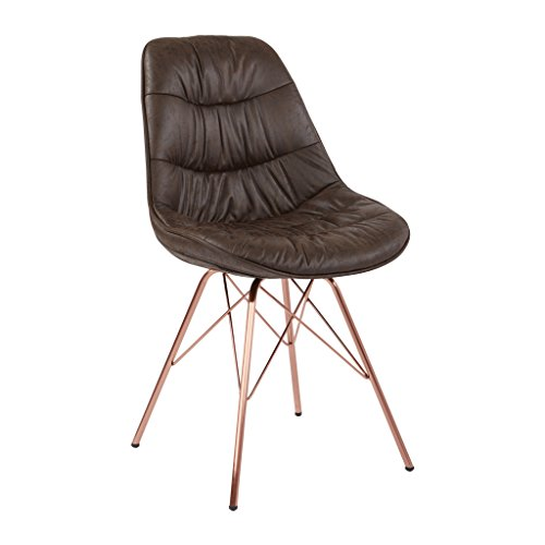 AVE SIX Langdon Faux Leather Task Chair with Rose Gold Base, Distressed Saddle