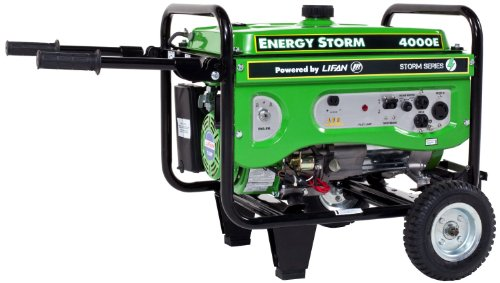 Lifan Energy Storm ES4000E 4000 Watt Lifan 7 HP OHV 211cc 4-Stroke Gas Powered Portable Generator with Electric Start and Wheel Kit with Never-Flat Foam Filled Tires
