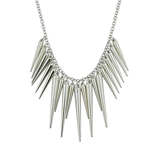 Punk Style Alloy Exaggerate Long Spike Necklace with Jewelry Pouch (Silver) ()