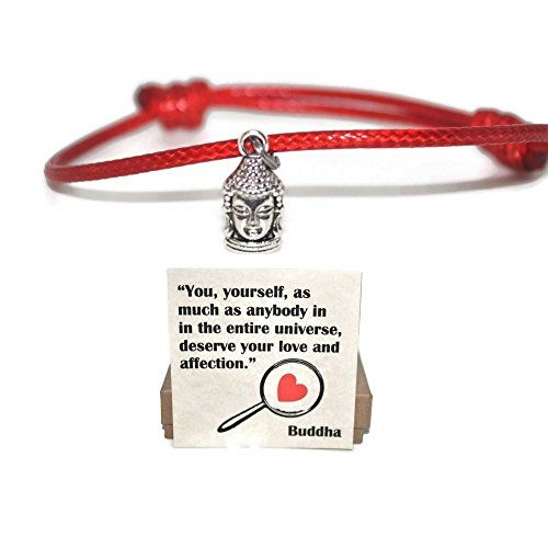 Buddha red cord sliding knot string bracelet and love quote note card