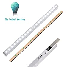 LED Closet Light, LightBiz 20-LED Wireless Motion Sensor Night Light Under Cabinet Lighting (Battery Operated)