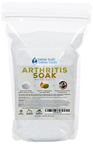 Arthritis Bath Salt 32oz (2-Lbs) - Epsom Salt Bath Soak With Frankincense Essential Oil & Vitamin C - Get Arthritis Relief With This Natural Bath Soak - All Natural No Perfumes No Dyes by Better Bath Better Body