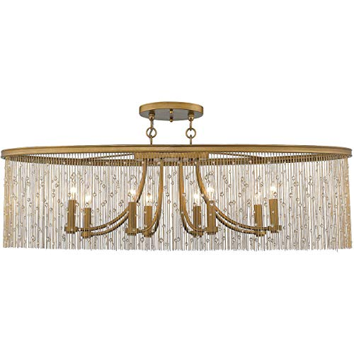 (Golden Lighting 1771-8SF-PG-CRY Marilyn 8 Light 38 inch Peruvian Gold Semi-Flushmount Ceiling Light)