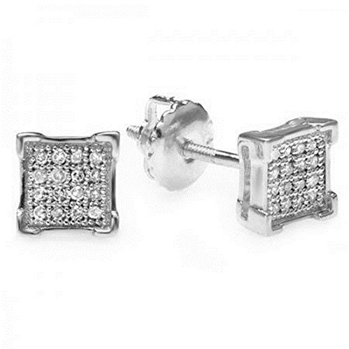 0.10 (Ctw) 10K White Gold Round Diamond V-Prong Square Men's Hip Hop Iced Stud Earrings 1/10 CT by Trillion Designs