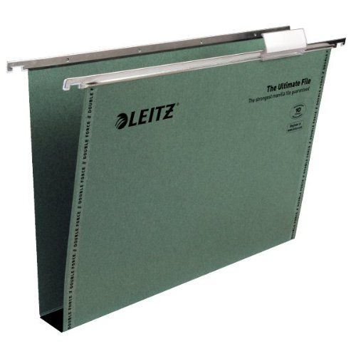 Leitz Ultimate Suspension File Recycled with Tabs Inserts 30mm Foolscap Green Ref 17450055 [Pack of 50] by Leitz