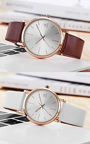 SK SHENGKE Couple Watches Anniversary Gifts for Lover Set of 2 Pairs Sweet Gifts for Valentines. (K8039-Brown-White) by SK SHENGKE (Image #2)