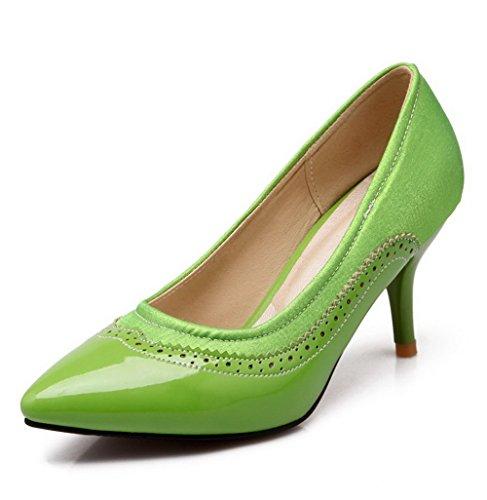 VogueZone009 Donna A Spillo Tirare Colore A Ballerine Tacco Verde Assortito Chiusa Scarpe Punta Punta xxvBdFw