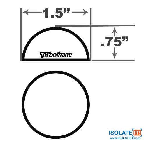 1.5'' Sorbothane Hemisphere Rubber Bumper Non-Skid Feet with Adhesive 50 Durom, 4 Pack by Isolate It! (Image #5)