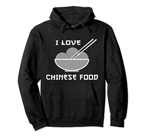 Unisex I LOVE CHINESE FOOD CHOPSTICKS FOODIE HOODIE Small Black (Chinese Love T-shirt)