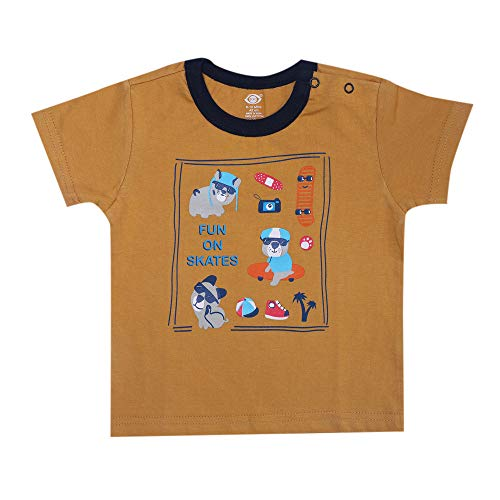 Hopscotch Zero Baby Boys and Baby Girls Cotton Animal Print Half Sleeve T-Shirt and Shorts Set in Yellow Color