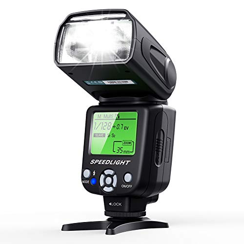 (Flash Speedlite for Canon Nikon Olympus Pentax,ESDDI Cameras Flash,LCD Display,Multi,DSLR and Digital Cameras with Standard Hot Shoe)