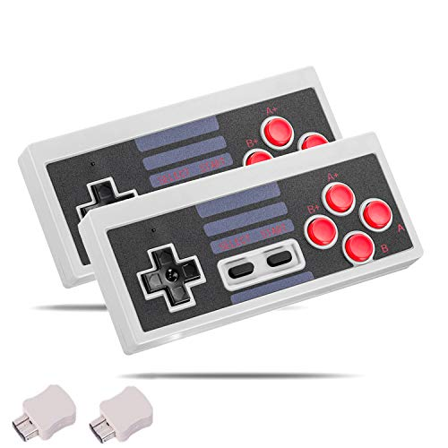 Nes Nintendo Entertainment System - Wireless Game Controller for NES Classic Edition, Kyerivs 2.4G No-Wired Gamepad Joypad with Receiver for NES Classic Gaming System Console (2 Pack)