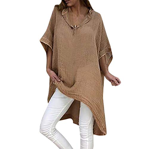 (LYNStar✔Summer Soft Loose Casual Women's Shirts Fashion Blouses Short Sleeve Round Neck Tunic T Shirt Asymmetrical Tops Khaki)