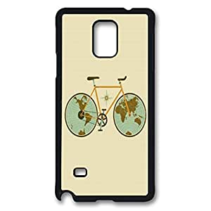 Retro Bicycle Illustration Protective Hard PC Snap On Case for Samsung Galaxy Note 4 -1122007