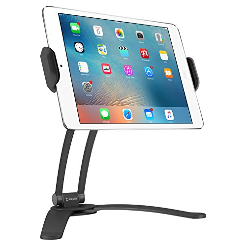Cellet Kitchen Tablet Mount Stand 2-in-1 Wall, Table, Counter Top, Desktop Mount Recipe Holder Stand for iPad/Pro/Air/Mini, Micro Surface Pro,Galaxy Tab, ChromeBook, Pixelbook and More - Black (Ipad Under Counter Holder)