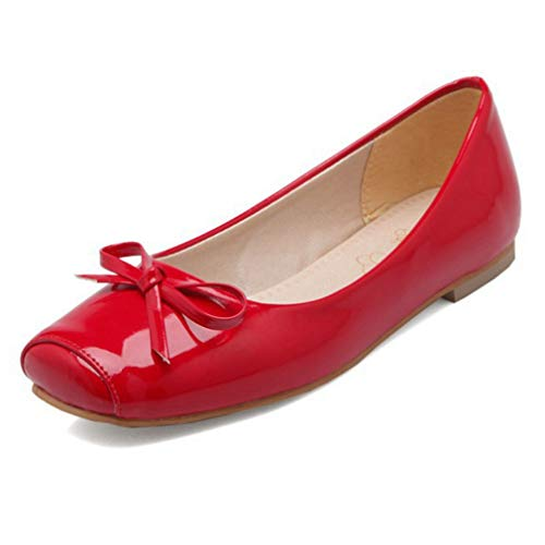 CYBLING Womens Cute Square Toe Slip On Ballet Flats Patent Ballerina Walking Flats Dress Shoes Red ()