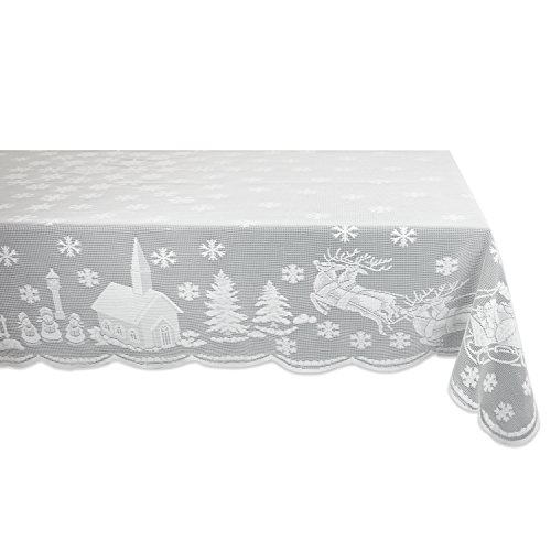 Christmas Lace - DII 100% Polyester, Machine Washable, Holiday, Snow Village Lace Tablecloth, 52x90