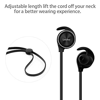 LeadTry E12 Bluetooth Headphones with Bluetooth CSR 4.1, CVC6.0 Noise Cancellation, Wireless In-Ear Headphones Sports Running Stereo Earbuds, 8 Hours Playtime, Built-in Mic (Black)
