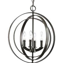 Progress Lighting P3827-20 4-Light Sphere Foyer Lantern with Pivoting Interlocking Rings, Antique Bronze