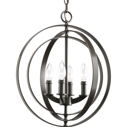 Progress Lighting P3827-20 4-Light Sphere Foyer Lantern with Pivoting Interlocking Rings, Antique Bronze