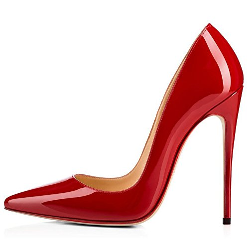 Kmeioo High Heels, Women's Pointed Toe High Heel Slip On Stiletto Pumps Evening Party Basic Shoes Plus Size-Red 10 M - Heels Red Toe Patent Pointed