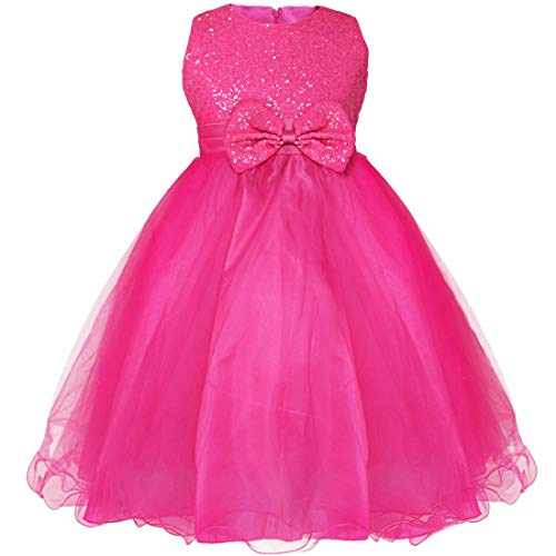 ice Tutu Kids Girls Formal Party Wedding Pageant Christening Gown Flower Dress Rose 7-8 ()