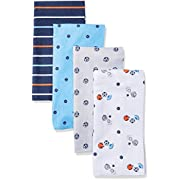 Gerber Baby Boys 4 Pack Flannel Burp Cloth, Lil Athlete, One Size