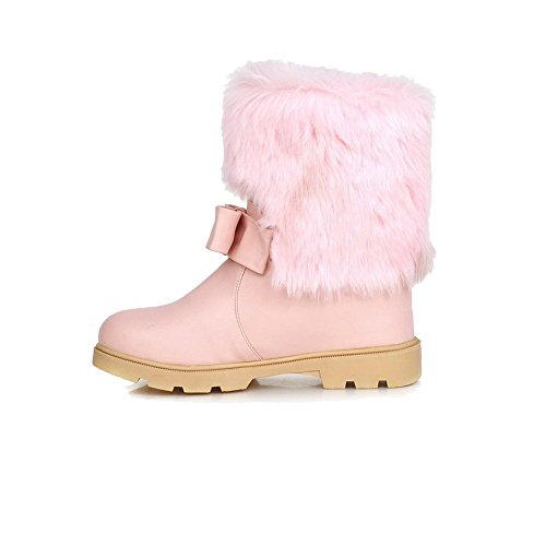 Allhqfashion Mujeres Low-top Pull-on Material Suave Kitten-heels Round Botas Cerrado Rosa