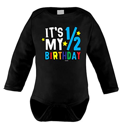 HAASE UNLIMITED It's My Half Birthday - Anniversary Infant Long Sleeve Bodysuit (Black, ()