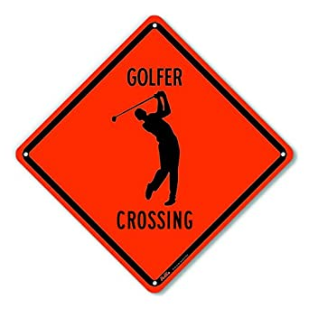 PetKa Signs and Graphics PKAC-0199-NA/_Golfer Crossing Aluminum Sign Black Text with Orange Background Black Text with Orange Background 10 x 10