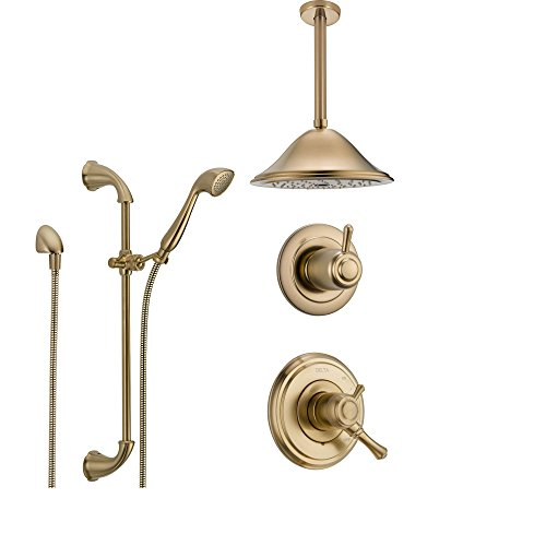 (Delta Cassidy Champagne Bronze Shower System with Dual Control Shower Handle, 3-setting Diverter, Large Ceiling Mount Rain Showerhead, and Handheld Spray SS179784CZ)