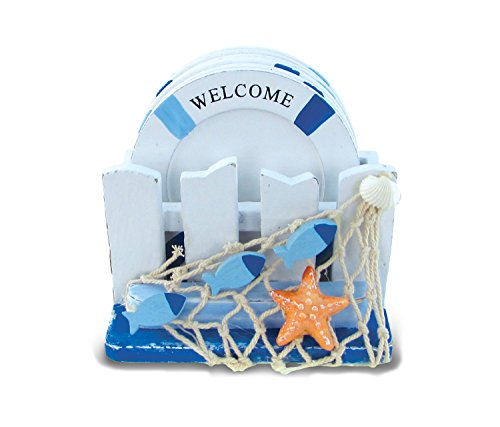 Puzzled Light Blue Lifebuoys Wooden Drinking Coasters with Fence Coaster Holder, 3.35