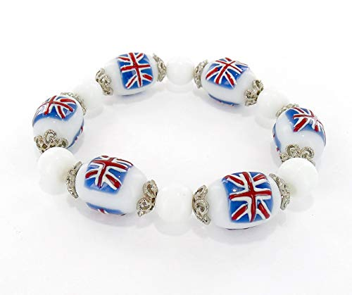 Fiona Accessories Great Britain Beaded Bracelet Gift – United Kingdom UK England British Flag Stretch Bracelet – Gift for Her Women Girlfriend Wife – World Cup Travel Souvenir Soccer Fans Bracelet ()