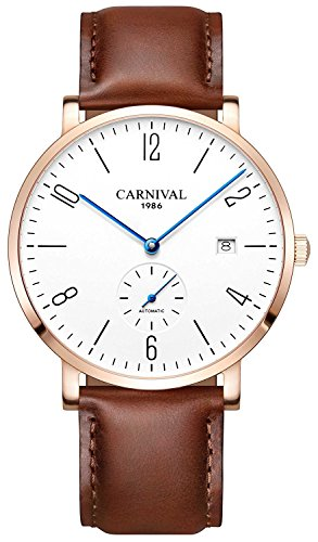 Carnival Fashion Automatic Mechanical Watches Mens Leather Strap Watch 30M Waterproof Simple Dial Wristwatches (Rose Gold Brown)