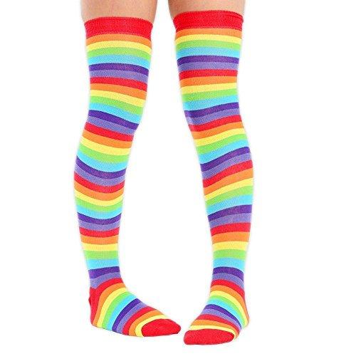 6 Womens Stripe De Lumineux ciel Cosplay Déguisement Genou Les Chaussettes Paires amp; Sur Arc Full Adam Eesa en q7U7z4