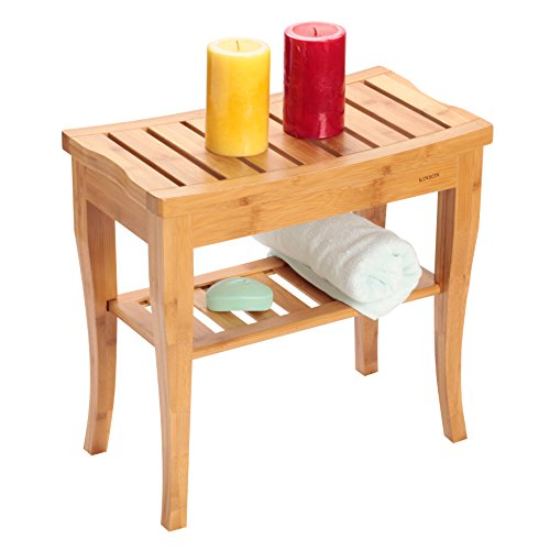 Bamboo Shower Bench Chair Seat, Spa Bath Stool with Storage Shelf