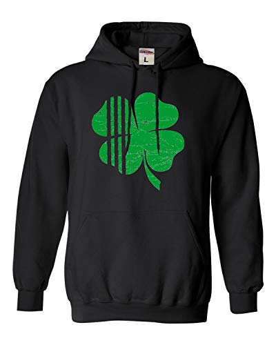 Go All Out Adult and Youth Distressed Shamrock St. Patrick's Day Irish Pride Sweatshirt Hoodie