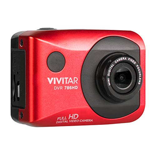 Vivitar DVR786HD 1080p HD Waterproof Action Video Camera Camcorder (Red) with Helmet & Bike Mounts